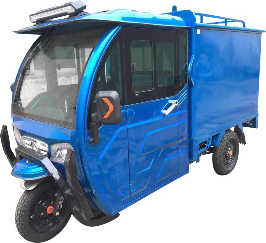 2018年4月26日,四川客户来厂区考察现场提走2辆蓝色三轮车蒸汽亿博平台客服